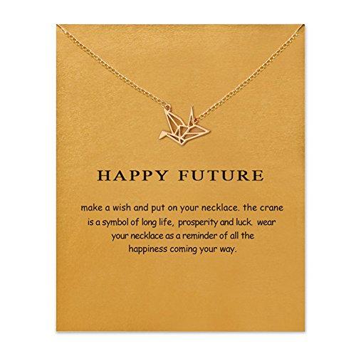Friendship Paper Crane Necklace with Message Card (Paper Crane)