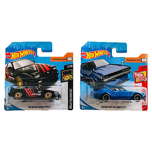 Hot Wheels \'96 Nissan 180SX Type X & Nissan Skyline 2000 GTR Nightburnerz & Then and Now Pack 2