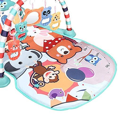 HLVU Juego del bebé Mat USB de Pedales del Piano Aptitud del Estante con la música Rattle Música cojín del Juego del bebé un Gimnasio de Juguete para Chicos (Color : Multi-Colored, Size : 76x60x45cm)