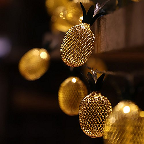 Ananas LED Lichterkette Deko Lampe - 5 Meter   Mit Netzstecker NICHT batterie-betrieben   20 LEDs warm-weiß - kein lästiges austauschen der Batterien   von CozyHome