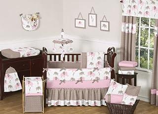 Sweet Jojo Designs Modern Pink and Brown Mod Elephant Baby Girl Bedding 9pc Crib Set