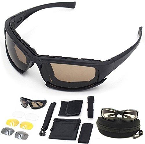 ZoliTime DAISY X7 Army - Gafas de sol polarizadas, gafas militares, 4 gafas tácticas, kit de lentes que bloquean el deslumbramiento, bloque UV, negro (Negro)