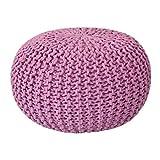 Voglrieder Sitzpouf Strickhocker Grobstrick handgeknüpft Ø 55 cm pink