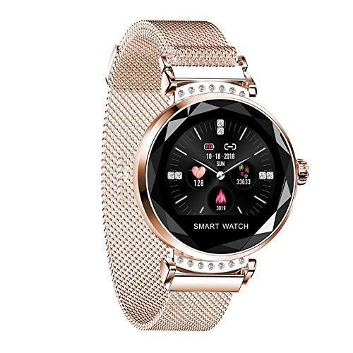 ZYXM Intelligentes Armband Sports Bracelet H2 Damen Smart Watch High-End-Fitness-Verfolger mit Überwachung Herzfrequenz und Schlaf Damenmode Smart-Reminder-Sport-Uhr (Color : Gold)