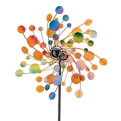 CIM Metall Windrad - Kinetic Spinner 48cm - Confetti - Abmessung: Ø48cm Gesamthöhe: 175cm - wetterfest, pulverbeschichtet, lackiert - 3-teilig, verschraubbar - inkl. 3-zackiger Bodenverankerung