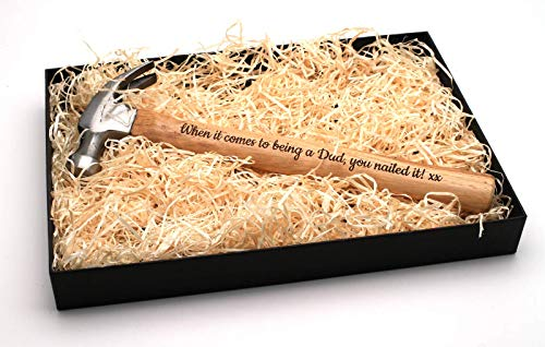 Personalisierter Hammer + Geschenkbox | Schaffen Sie ein ganz einzigartiges Geschenk | Lasergravur | Super Geschenkidee für Geburtstage, Vatertag, Valentinstag