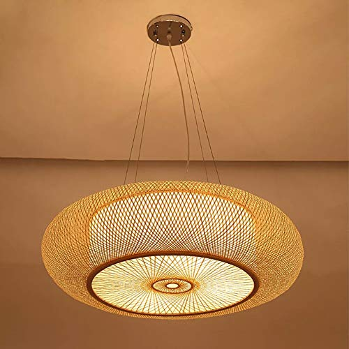 Shfmx Nordic Designer Creative Pendentif Lampe, rotin Moderne Art Salon Lustre Salle d'étude Restaurant Bambou Lanterne Pendentif lumière Lampe de Salon de thé