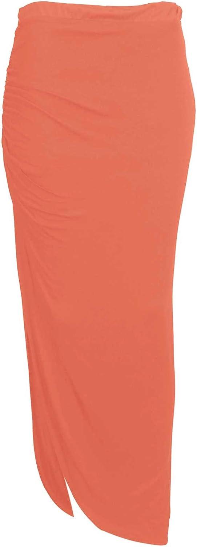 Baleza Women's Jersey Long Gipsy Gather Side Cut Out Maxi Skirt M/L 12-14 Coral