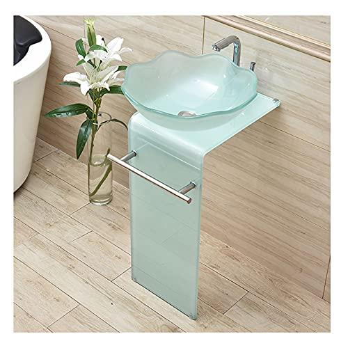 YQX Fregadero de pedestal de vidrio templado, gabinete de fregadero de recipiente de baño, apartamento pequeño, balcón, piso de pie, lavabo de 84 x 40 cm con grifo y combo de drenaje (color redondo)