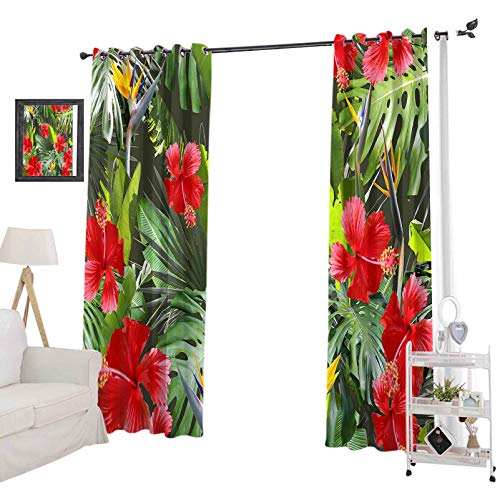 YUAZHOQI Room Darkening Blackout Curtains, Tropical Leaves Pattern Green Leaf Exotic Plants Seamless Artistic Photo Collage, 52' x 84' Decorative Curtains for Living Room