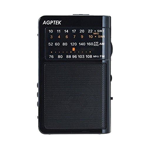 AGPTEK AM FM Pocket Radio Portable Stereo Supports TF Card USB, R09(Black)