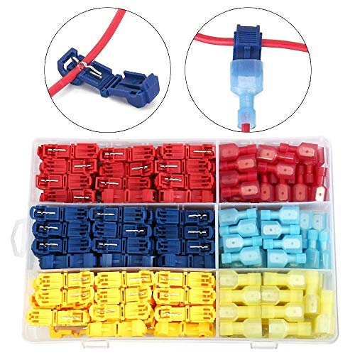 Heavy Duty Insulated Quick Wire Splice Taps and Insulated Male Quick Disconnect Kit ARTGEAR 180pcs T Tap Electrical Connectors