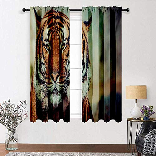 Adorise Blackout Curtains Large Feline in a Calm State with Blurred Background Close up Image of a Beast Shade Window Panels for Living Room and Bedroom (W36 Inch by L72 Inch, 2 Panels)