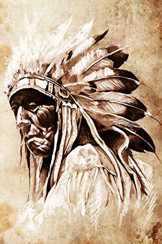 Fototapete selbstklebend | Indianer mit Federschmuck | in 100x150 cm | Bild-tapete Moderne Wand-deko Dekoration Wohnung Wohnzimmer Wandtapete | 17295