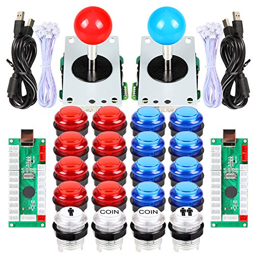 Fosiya 2 Player LED Arcade Joystick and Buttons Kit for Arcade PC Game Controller Mame Raspberry Pi Retro Controller (Red & Blue Kit)