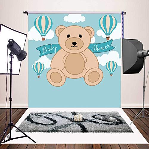 Daniu Teddy Bear Telón de Fondo para Baby Shower 6x6ft Es un niño Globos de Aire Caliente Azul Fotografía Fondo Pastel Mesa Banner Decoraciones Fotomatón