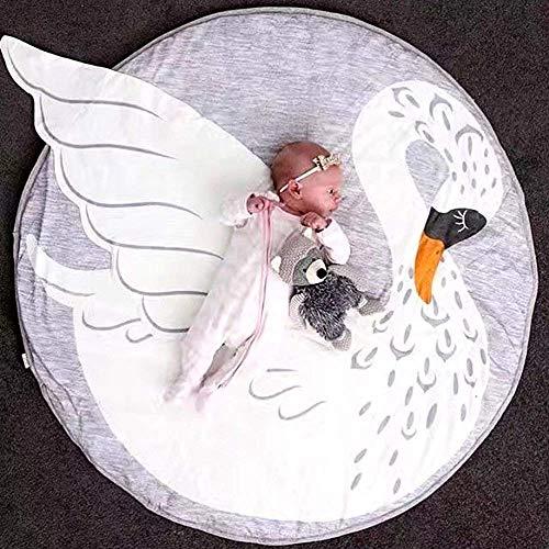 Goodbox Krabbelmatte Baby, 90 * 90 cm Kinderspielteppich Spielmatte Spielteppich Baby Kleinkind Crawl Mat Spielmatte Babyschleichenmatte Picknick-Decke (Swan)