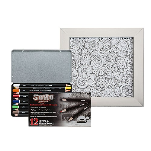 Soho Urban Artist Framed Coloring Kit with Vibrant 12 Count Colored Pencil Tin and Metal Picture Frame [Set] - Floral Paisley Design