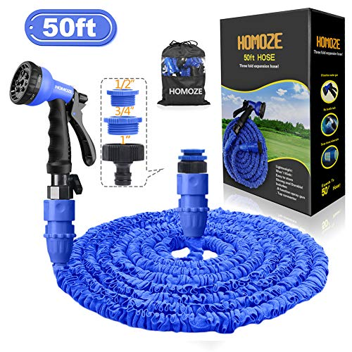 HOMOZE 50ft Expandable Garden Water Hose Pipe with 1', 3/4', 1/2' Fittings, Anti-leakage Flexible Expanding Hose with 8 Function Spray Nozzle (Blue)
