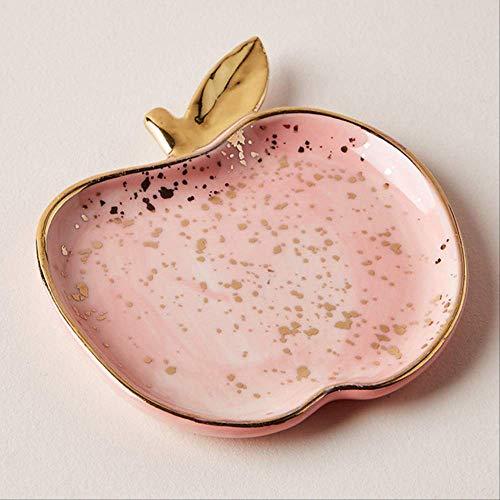 Preisvergleich Produktbild U / N Nordic Ceramic Watermelon Apple Kleine Schmuckschale,  Ohrringe Halskette Ring Aufbewahrungsplatten,  Obst Dessert Display Tablett 2 * 8.2 * 9.5cm 2 Stück Apfel