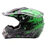 TKYZYY Casco de motocross, casco de motocross de cara completa, color verde, certificado por DOT, para descenso, Dirt Bike MX ATV adulto, guantes de motocicleta, gafas, máscara juego de 4 piezas