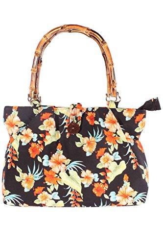 SugarShock retro Hawaii Flower Hibiskus Blüten Rockabilly Bambus Handtasche