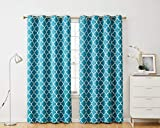 HLC.ME Lattice Print Thermal Insulated Blackout Moroccan Heat Blocking Room Darkening Energy Efficient Savings Window Curtain Grommet Panels for Dining Room - Set of 2-52 W x 84 L - Teal Blue