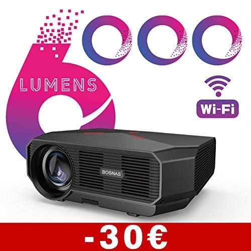 BOSNAS【2020 Upgrade】 WiFi Beamer, 6000 Lumen Native 720p Unterstützt 1080P Full Hd Wireless Projektor 200