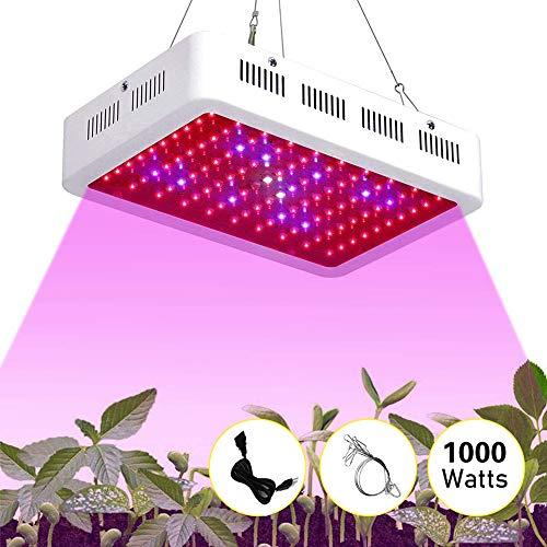 JZH Led-plantenlamp, 1000 W, volspectrum, groeilamp, voor kamerplanten, functie (100 leds), voor kas, binnen, groeibox, hydrocultuur, veg cactus