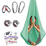 Aerial Yoga Hammock - Premium Aerial Silk Yoga Swing for Antigravity Yoga, Inversion Exercises, Improved Flexibility & Core Strength - Extension Straps, Carabiners and Pose Guide Included (Aqua)