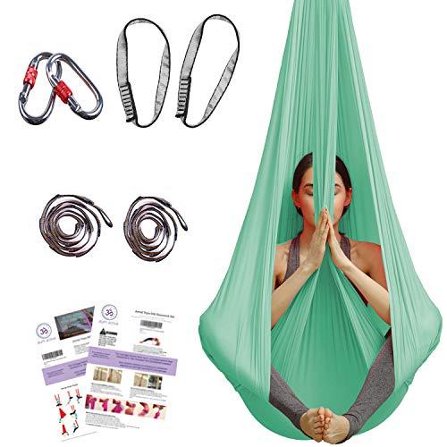 aum active Aerial Yoga Hammock - Premium Aerial Silk Yoga Swing for Antigravity Yoga, Inversion Exercises, Improved Flexibility & Core Strength - Extension...