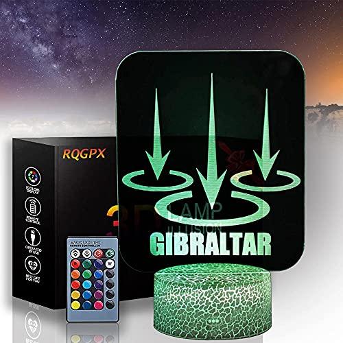 Gibraltra Apex Legends Lámpara de ilusión 3D de 16 colores que cambian de color acrílico LED luz de noche con, escultura de arte luces decoración del hogar, cargador USB, juguetes bonitos regalos
