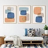 HHSJBY Azul Naranja Formas abstractas Impresiones Póster mínimo Pintura en Lienzo Siglo Cuadros de Pared Sala de Estar Decoración del hogar 3 Piezas 50x60cm / 19.7'x23.6 Sin Marco