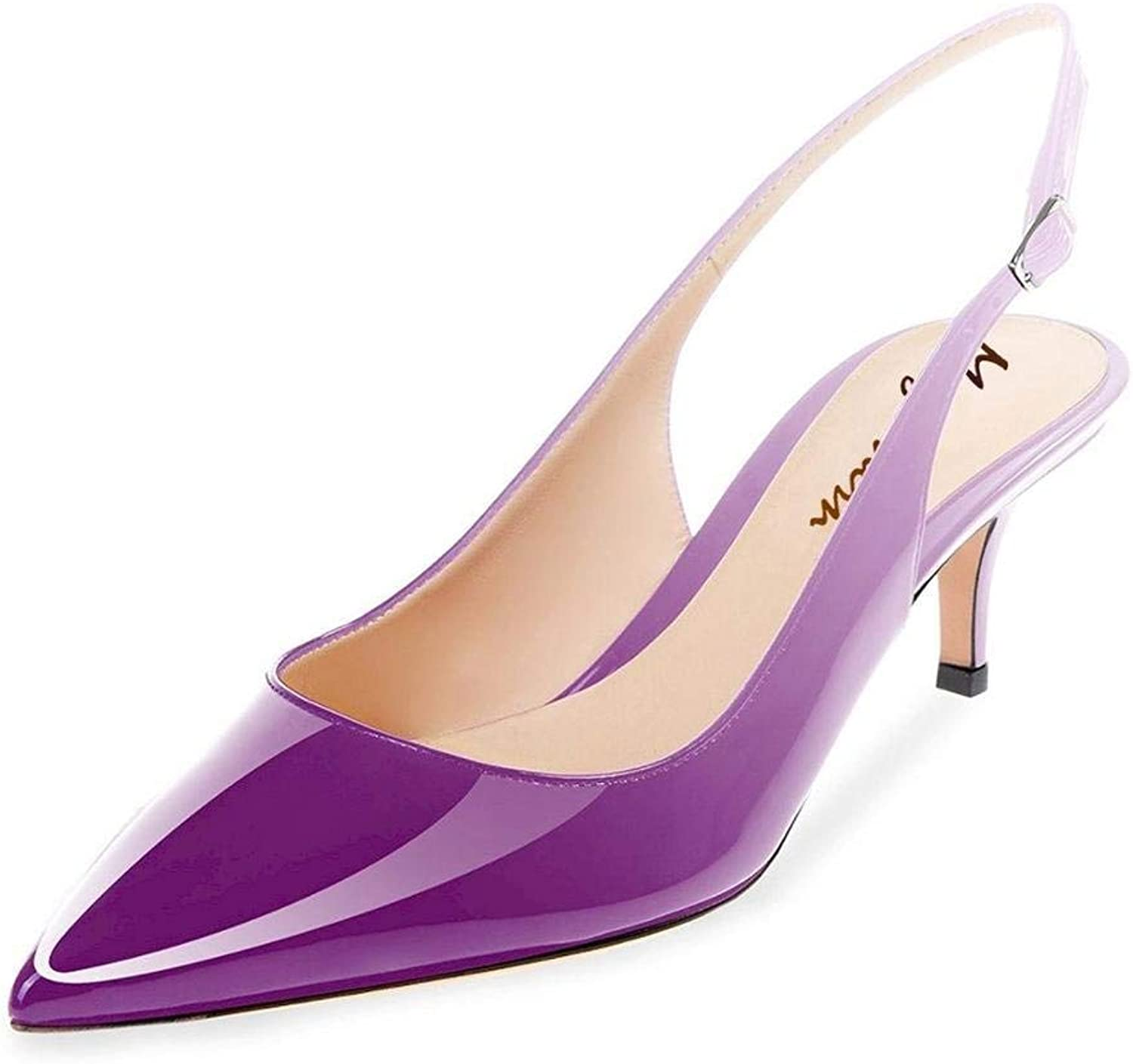 Maguidern Patent Leather Slingback Pumps, Women's Pointed Toe Slingbacks Buckle Ankle Strap Low Heel shoes Purple Size 12