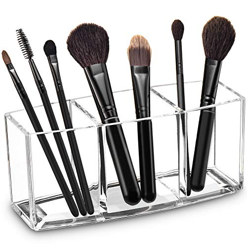 Acrylic Makeup Brush Organizer Holder Clear Cosmetic Brushes Storage with 3 Slots
