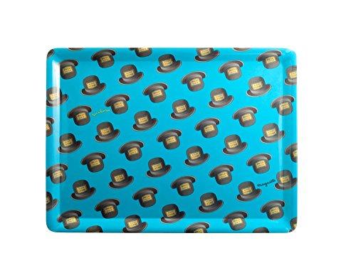 """Magritte Tablett, Motiv Hut"""", Melamin, 38x28cm, Blau"""