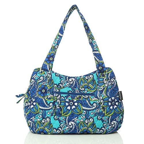 Quilted Cotton Handle Bags Shoulder Bag (Blue)