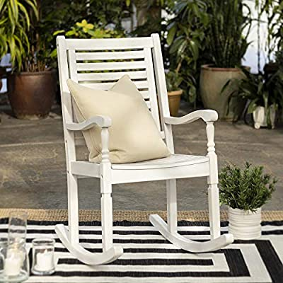 Walker Edison Montego Traditional Acacia Wood Slat Back Patio Rocking Chair, 42 Inch, White Wash