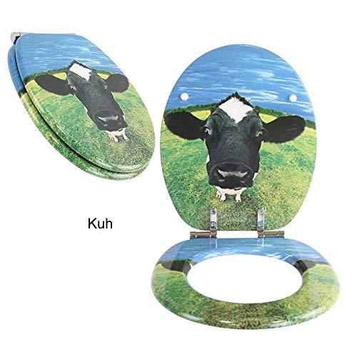 Toilettensitz WC-Sitz mit Absenkautomatik und verzinkten Scharnieren - Klobrille Klodeckel Toilettendeckel aus MDF (Kuh)