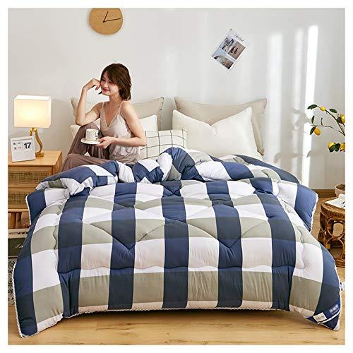YRRA Calidad Espesar Edredón, Mullido Calentar Edredón Toda la Pieza Terciopelo Abajo Relleno Ropa de Cama Premium, para el Dormitorio de la casa,Azul,180x220cm 3kg