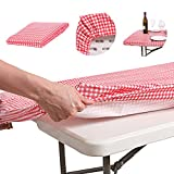 ATK ESSENTIAL PRODUCTS Waterproof Plastic Vinyl Tablecloth Elastic Edged Rectangular Fitted Picnic Cover Outdoor tablecloths Rectangle Tables Home Indoor Fits 4ft 28x48 Folding Table Red Patterned