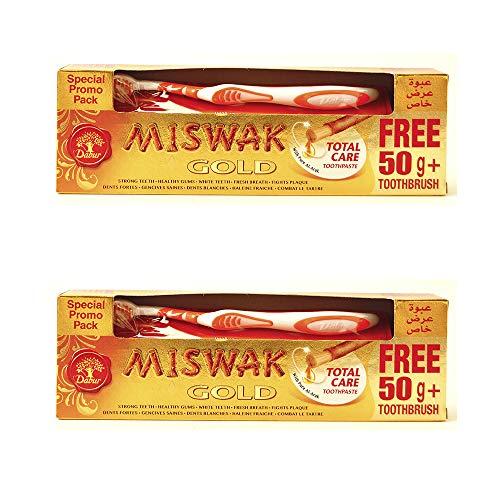Lote de 2 peças Dabur Miswak / meswak / siwak creme dental orgânico sem flúor GOLD 170gr + escova de dentes grátis