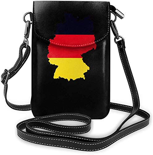 smile-life Kleine Umhängetaschen Deutsche Flagge auf detaillierter Deutschlandkarte Handy Geldbörse Brieftasche Leichte Reisepass-Tasche