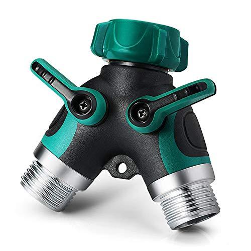 NSEN Y Valve, Hose Splitter, 2 Way Y Connector, with Rubber Grip(Green)