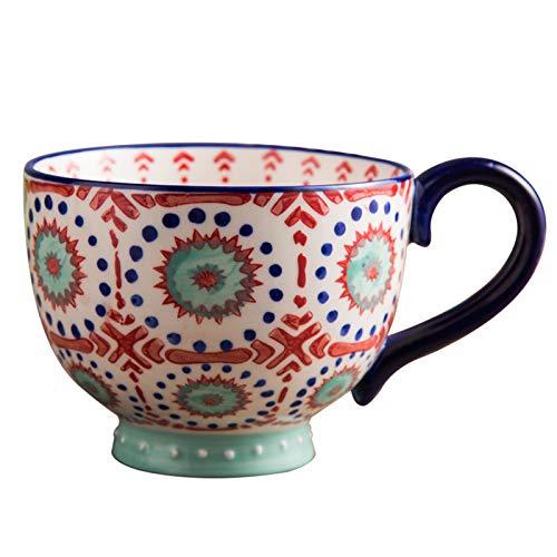 DDLN Taza de Desayuno de Gran Capacidad de 400 ML con asa, Taza Vintage, Taza de café de cerámica, Tazas de Porcelana para Desayuno, café, Leche, Avena, Cereales