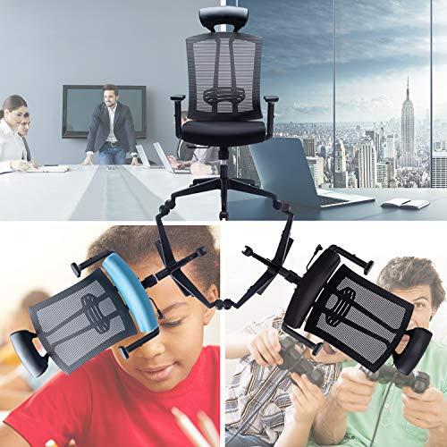 Kasorix Grauer Netzstuhl mit PU-Leder-Kopfstütze Großer und hoher Bürostuhl mit Verstellbarer Lendenwirbelstütze Bürostuhl mit Verstellbarer Armlehne für Kinder und Erwachsene(Grau-163)