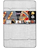 KITCHENATICS Commercial Grade 100% Stainless Steel Roasting and Cooling Rack Thick-Wire Grid Fits Half Sheet Baking Pan Oven & Grill Safe Rust-Proof for Cooking, Baking, BBQ Heavy Duty - 11.8' x 16.9'
