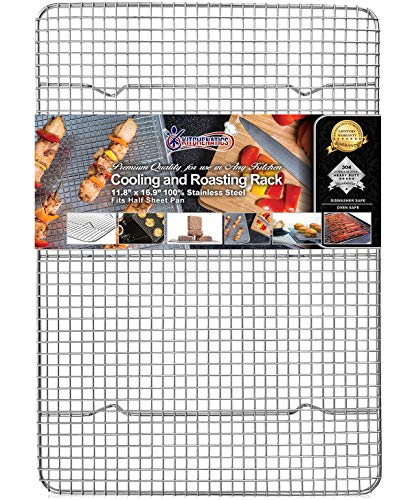 KITCHENATICS Half Sheet 100% Stainless Steel Roasting & Cooling Rack, 1/2 Sheet Oven-Safe Rack with Patent-Pending Multiple Welds, Thick Wire Grid, Use for Oven & Grill, Non-Toxic, 11.8' x 16.9' x 1""