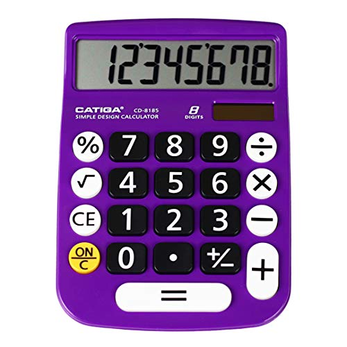 Basic Calculator: Catiga CD-8185 Office and Home Style Calculator – 8-Digit – Educational - Suitable for School and Destop-use (Purple)