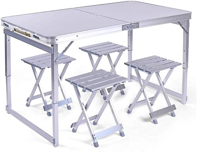 Combinaison de table pliante argentée haute résistance, ensemble de table pliante de loisirs de camping en plein air, table pliante en alliage d'aluminium stable et antidérapante
